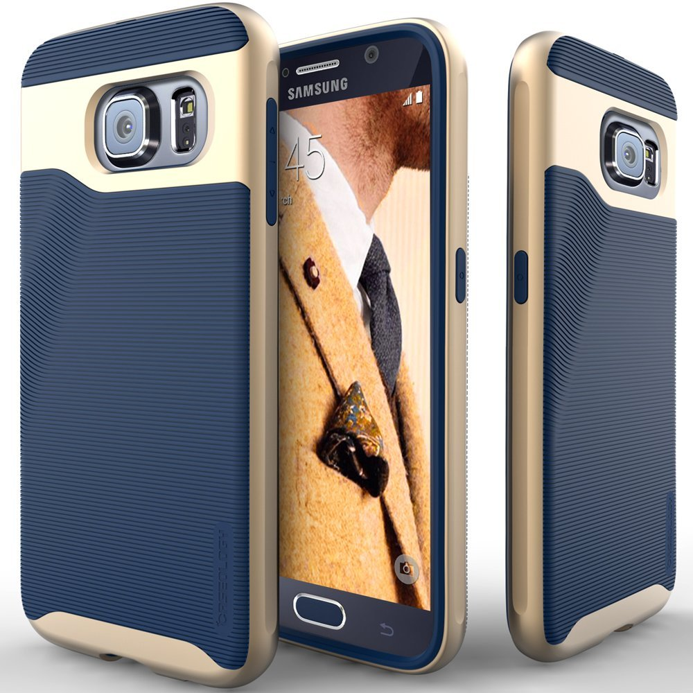 COVER CEL GALAXY S6 CASEOLOGY BLUE NAVI