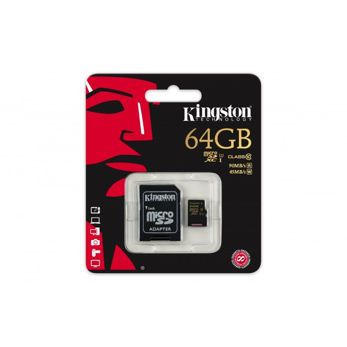MEMORY 64.0 GB MICROSD KINGSTON (SDCA10/64GB) CLASS10