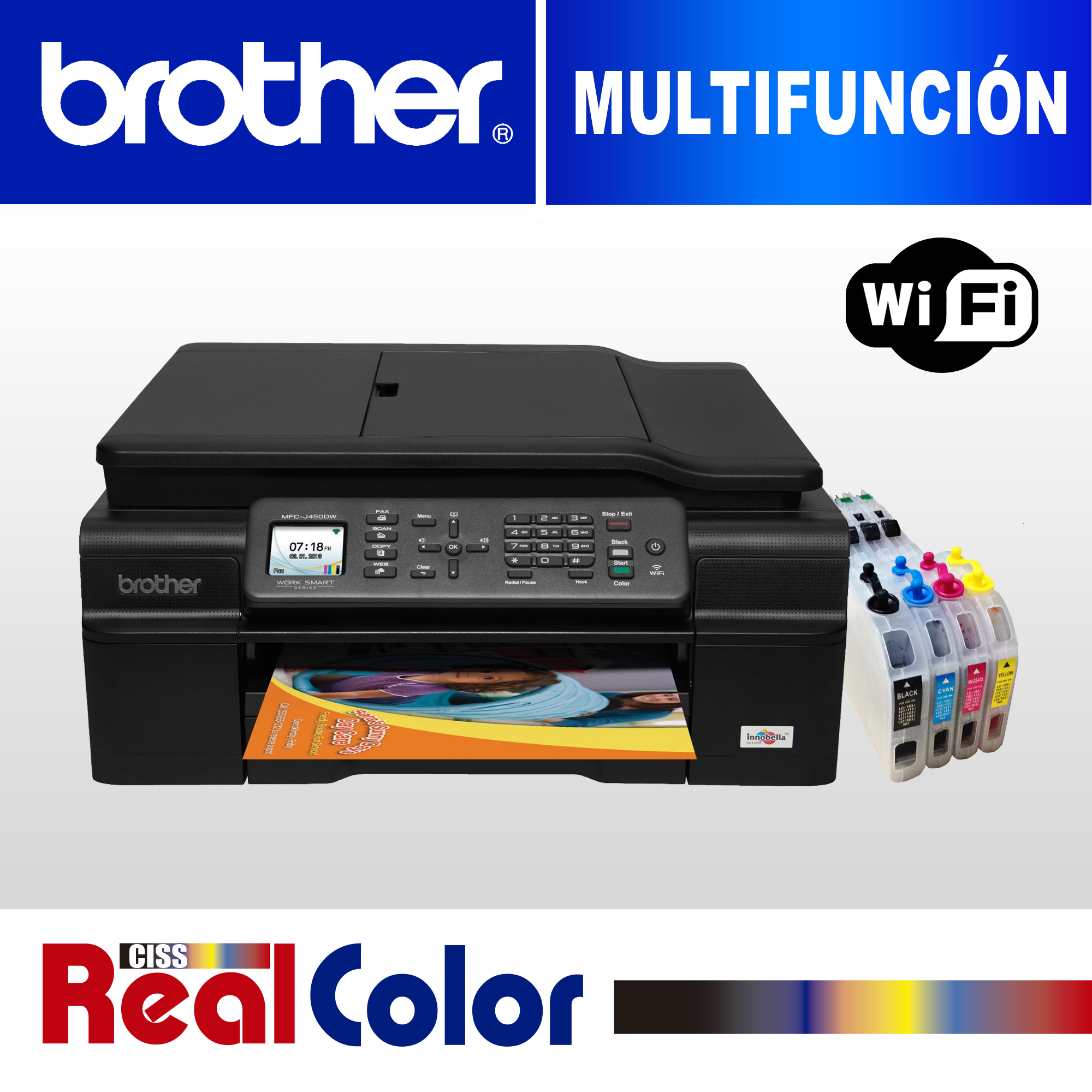 PRINTER BROTHER MFC-J450DW + SISTEMA TINTA