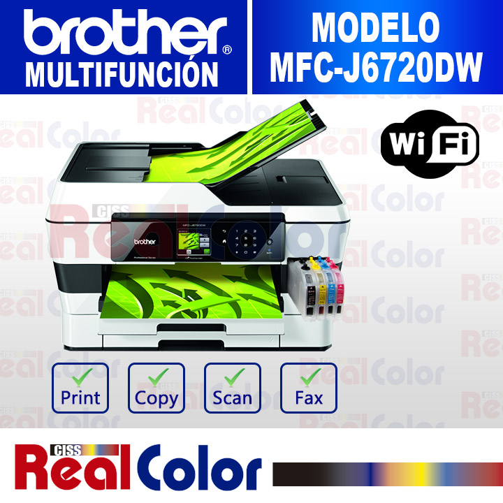 PRINTER BROTHER MFC-J6720DW + SISTEMA TINTA