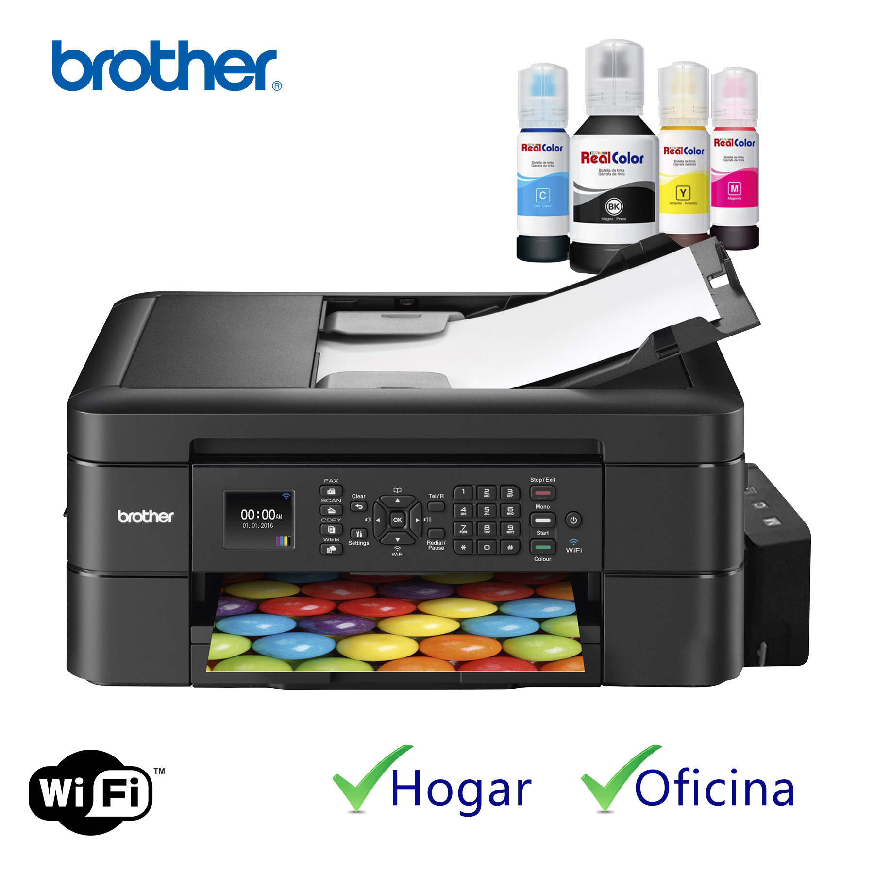 Printer Brother Mfc-j485dw + Sistema Tinta Real Color