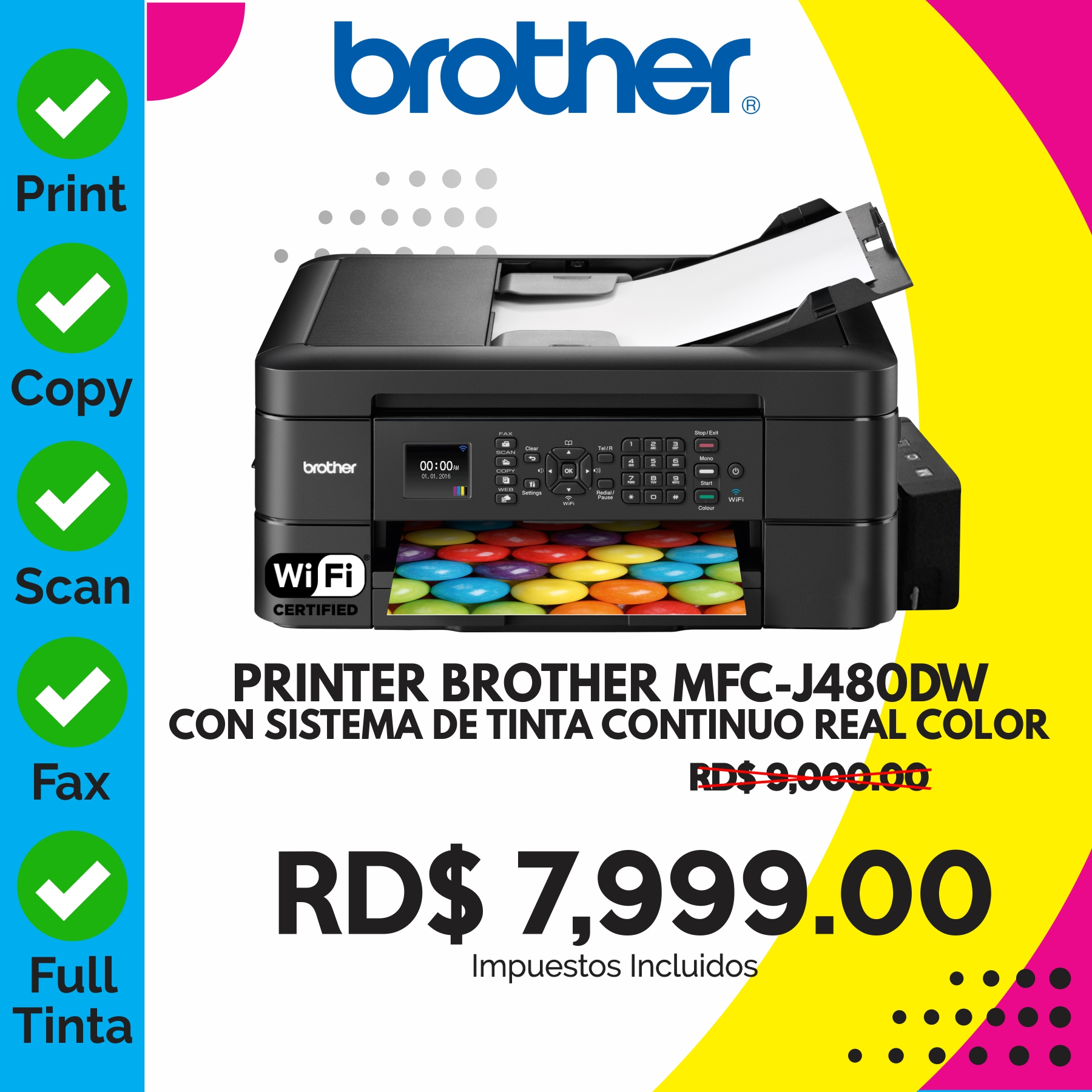 PRINTER BROTHER MFC-J480DW + SISTEMA TINTA
