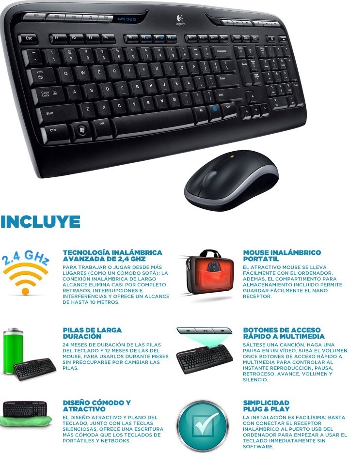 TECLADO/MOUSE USB LOGITECH WIRELESS MK320 BLACK