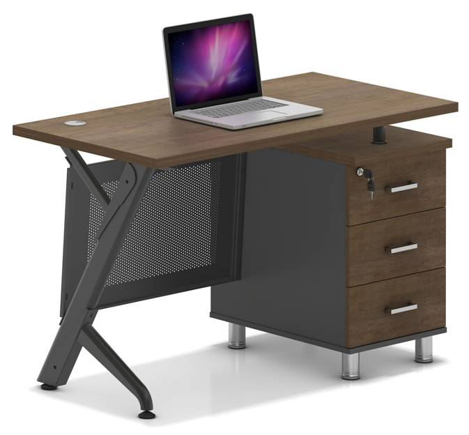 Escritorio Sit D400 C/gaveta Gray/walnut
