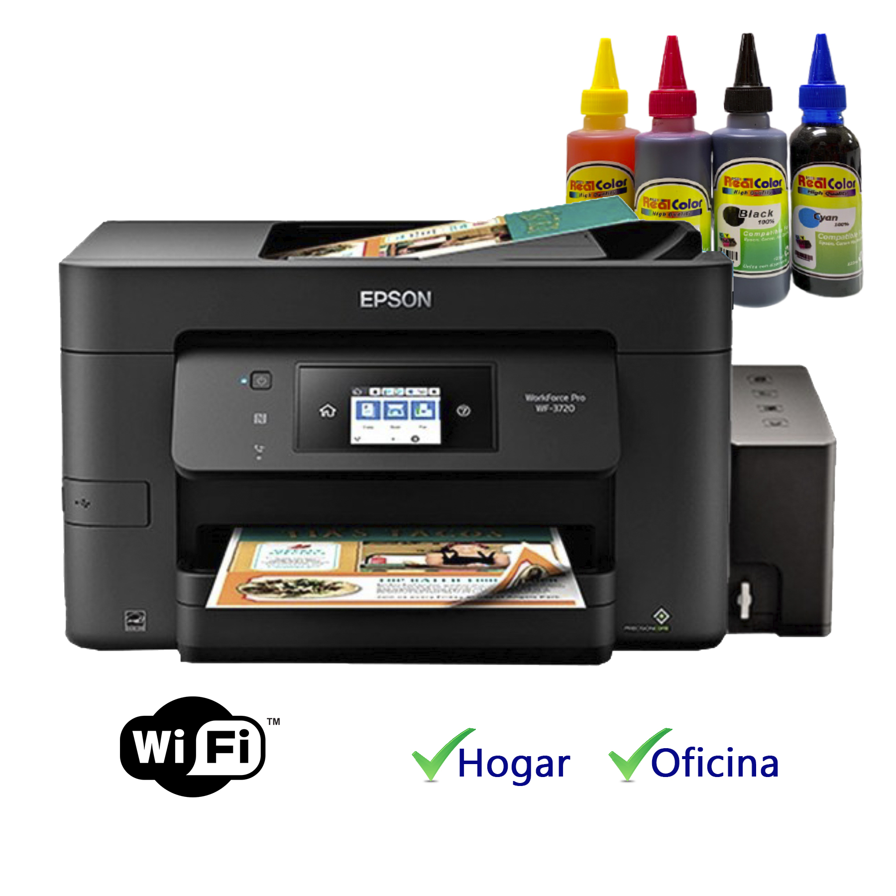 Printer Epson Wf-3720 + Sistema Tinta  Real Color